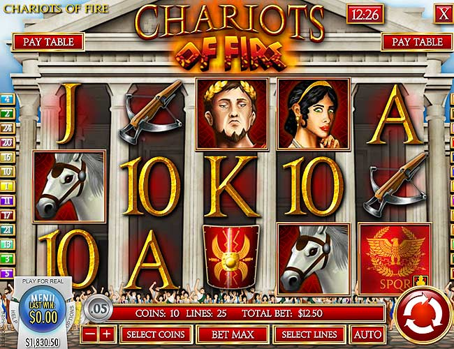 chariots of fire slot screen