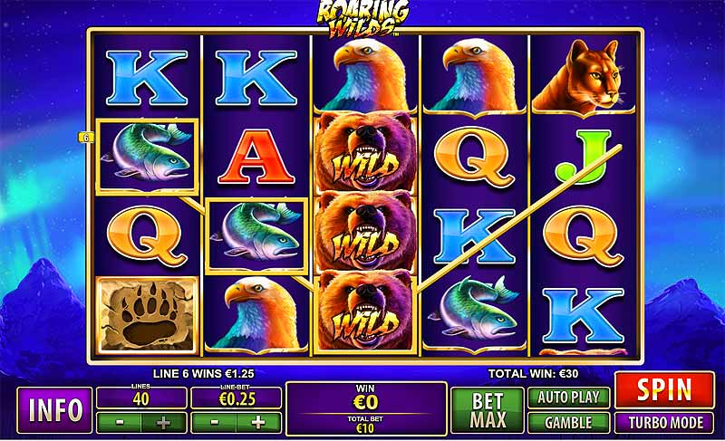 roaring wilds online slot screen