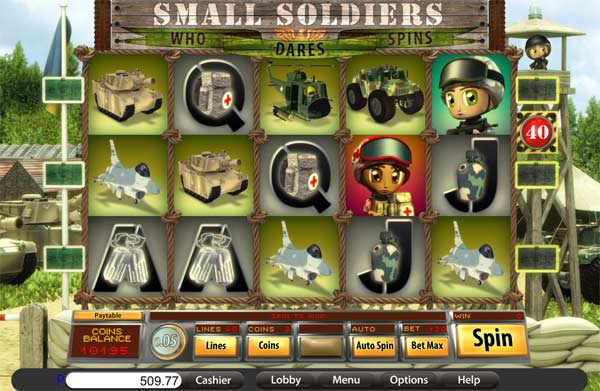 small soldiers video slot screen