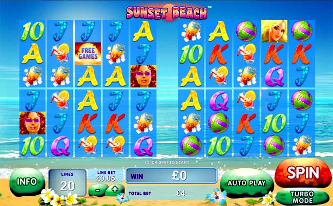 sunset beach video slot
